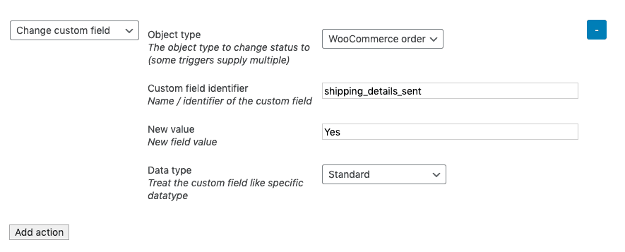 WooCommerce SMS - second action