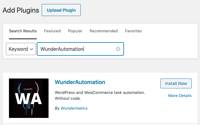 WunderAutomation in the plugin search screen