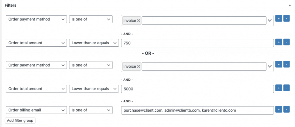 WooCommerce automation. Using 2 filter groups.