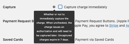 Stripe plugin configured to not capture payment immediately