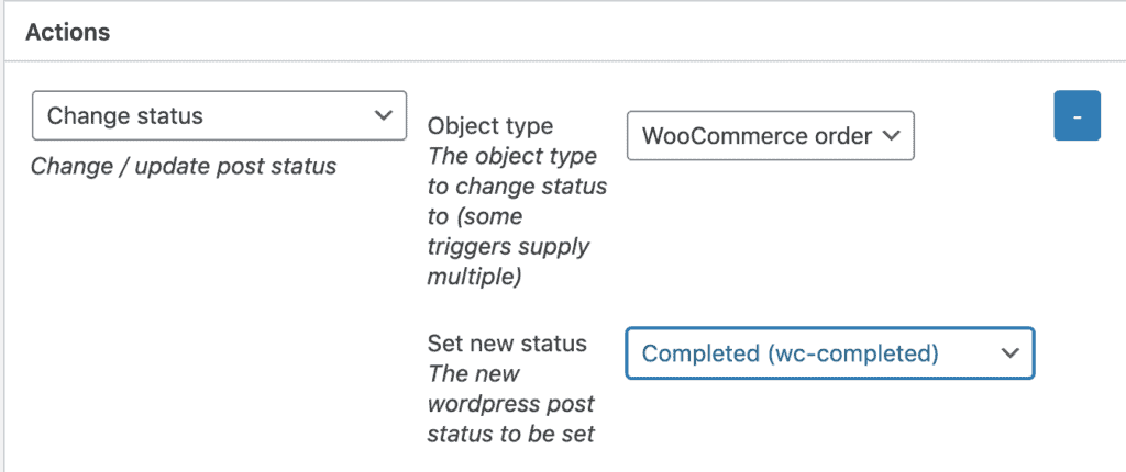 Settting WooCommerce order status via WunderAutomation